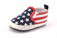 Wholesale Fabric Wholesalers Usa - Kids American flag shoes fit 0-1T Infant kids stars red white stripe printed non-slip footwear fashion baby shoes USA style shoes T3856
