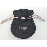 colgantes negros collares al por mayor-Cinta rosa Bolsas de terciopelo negro Fit Pandora estilo europeo encantos y pulseras Collares Joyas Moda Colgante Bolsas
