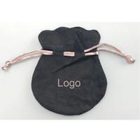 kadife takı poşetleri torbalar toptan satış-Pembe Kurdele Siyah Kadife Çanta Fit Avrupa Pandora Stil Boncuk Charms ve Bilezikler Kolye Takı Moda Kolye Torbalar
