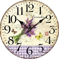"Wholesale Rustic Antique Decor - Wholesale- 12""Rustic Lavender Butterfly Wall Clock Flower Antique Wooden Wall Clock Modern Design Large Decorative Wall Clocks Home Decor"