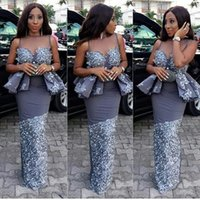 Wholesale Girls Peplum Dresses - Aso Ebi Black Girls Mermaid Prom Dresses With Sheer Neck Sexy Peplum Celebrity Evening Gowns Lace Appliques African Party Cocktail Dress