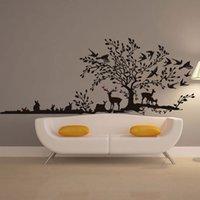 3d kuş duvar dekor toptan satış-Ücretsiz kargo Orman Ağacı Hayvan Karikatür Kuş Geyik Duvar Çıkartmaları Çocuk Odaları Için Çocuk Yatak Odası Ev Dekor