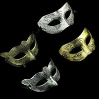 Wholesale Party Costume Mask Paper - Costume Party Mask Men's retro Greco-Roman Gladiator masquerade masks Vintage Golden Silver Mask silver Carnival Mask Halloween D150