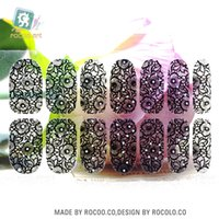 Wholesale Wholesales Rinestones - Wholesale- Y5405 2016 New Transparent Black Full Lace Design Adhesive Nail Art Stickers Colorful Rinestones Decor Nail Wraps Decal