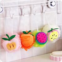 Wholesale Body Take - cute candy colorful fruit shape bath ball pull back bath flower nylon bath sponge scrubbers pull back take a shower free shipping