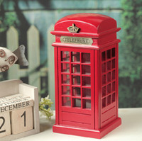 Wholesale Vintage Piggy Banks - Vintage British Style Phone Booth Piggy Nostalgic Wood Shooting Props Large Piggy Bank