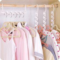 Wholesale Plastic Clothes Hangers Free Shipping - Space Saver Wonder Magic Hanger Clothes Closet Organizer Hook Drying Rack Multi-Function Clothing Storage Racks Free Shipping