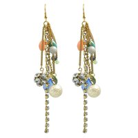 Wholesale Long Chain Colorful Earrings - Latest Design Colorful Beads Rhinestone Long Chain Earrings