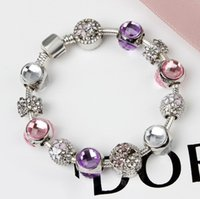 Wholesale glass bead bracelets for women - 925 Murano Glass Charm Bracelets Bead Christmas Pink Flower CZ Crystal Charms Dangle For Women Original DIY Jewelry Plum Style Fit Pandora