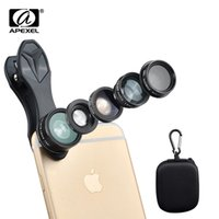 Wholesale Telescope Fisheye Lens - 5in1 Phone Lens Kit, APEXEL 198 Degree Fisheye  0.63X Wide Angel  15X Macro  Telescope  CPL Lens  for iPhone Samsung Smartphone