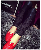 Wholesale Imitation Leather Pants - Autumn and winter female embroidery lace stitching leather leggings with velvet trousers wear imitation leather pants thickened
