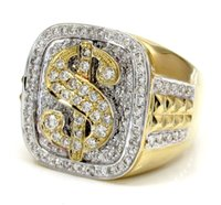 Wholesale Engagement Signs - 1.56ct Mens 14k White Yellow Real Gold Diamond Big Dollar $ Sign Money Ring