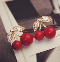 Wholesale cherry rings - Stud Earrings New Fashion Lovely Red cherry earrings rhinestone leaf bead stud earrings for woman jewelry diamante Red Cherry Ear Stud Ring