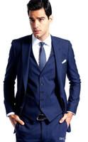 UK best groom wedding dress - Side Vent Navy Blue Groom Tuxedos Peaked Lapel Slim Fit Best Men's Wedding Dress Prom Holiday Suit New Arrival (Jacket+pants+tie+Vest)741