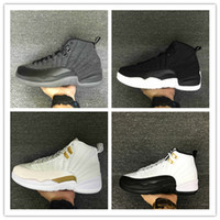 Wholesale Silver French Lace - 2017 retro 12 XII basketball shoes ovo white Flu Game GS Barons wolf grey Gym red taxi gamma french blue sneaker