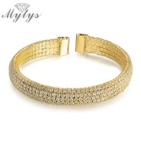 Wholesale Tennis Net Wholesale - Wholesale- Mytys Gold Plated Cuff Open Bracelet Wire Mesh Net Tennis Bracelet Free Size B1024