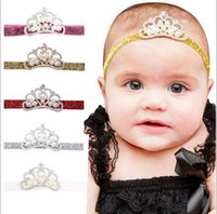 Wholesale Handmade Crown Baby - Baby Kids Handmade Hairbands CROWN Rhinestone Pearls Multi Colors glittery Elastic headband Costume Photo headband F114