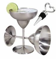 produtos de cristal de chumbo venda por atacado-Cálice de Margarita de aço inoxidável vem com uma rolha de garrafa de vinho grátis