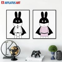 Wholesale Cartoon Pictures For Kids Room - 2 Pieces Nordic Cartoon Rabbits Wall Art Print Poster Abstract Wall Oil Picture Canvas Painting For Living Room Kids Room Home Decor