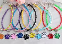ingrosso porta i fascini della zampa-Orso d'argento dello smalto del gatto del cane zampa stampa i braccialetti di fascini del pendente tessono braccialetti di cuoio braccialetti monili per il regalo di amicizia delle donne