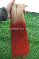 extensões remy misturadas do cabelo brasileiro venda por atacado-2015 Novo item! Brasileiro Ombre Cabelo 613 / vermelho Loiro Humano Remy Cabelo Weave Reta Barato Ombre Extensões de Cabelo Misturado 10 '' -30 ''