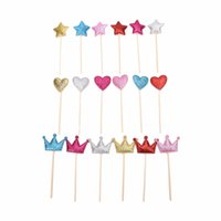 Wholesale Handmade Crown Baby - Wholesale- 6Pcs Star Crown Heart Dessert fruit Topper Custom Handmade Wedding Cupcake Toppers baby Girls Birthday Party Decoration
