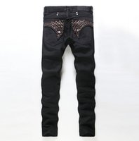 Wholesale Mens Black Classic Straight Jeans - 2 colour!2016 New Mens Straight Robin Style Designers Jeans Male Fashion Slim Hot Nail Snowflake Jeans For Men High Quality Denim Pants