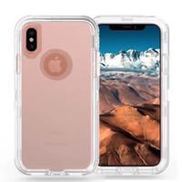 iphone 6s artı kasa kemeri klipsi toptan satış-Temizle Defender Vaka iPhone X X Için Max XR 6 6 S 7 8 Artı Galaxy S10 Artı S10e S8 + S7 kenar Not 8 9 Robot Zırh Kapak Kemer Klipsi
