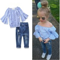 Wholesale Denim Shirts For Girls - Striped Shirts+jeans Hole for Gril Kids 2pcs Set Horn Half Sleeve Off Shoulder Fashion Children's Sets Denim Gril Suit Princes Wholesale