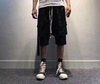 Wholesale 3d Linens - RAVEN rick owens RO style cotton linen men black short cargo relaxed pants 3D pokects high quality