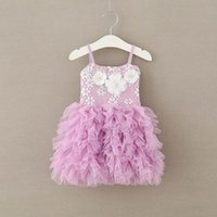 Wholesale Puffy Clothing - Summer New Baby Girls Fashion Dresses Lace Flower Party Sundress Puffy Gauze Princess Pink Dress Children Clothes 1918