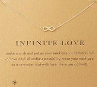 Wholesale Silver Infinite - With card! Silver and gold color cute Dogeared Necklace with love pendant(infinite love), no fade, free shipping and high quality.