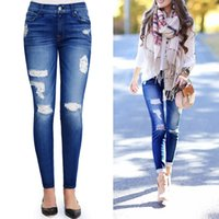 Wholesale Girls Hot Fashion Young - young girl casual jeans legging stretch denim pant hot sale jean trousers street ripped holes fashion
