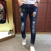 Wholesale Needle Pencil - Wholesale- European brand rose embroidery cloth skull hole needle slim feet micro elastic jeans male Metrosexual trousers quality