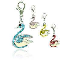 Wholesale Swan Silver Plated Charms - Fashion Floating Lobster Clasp Charms Dangle Rhinestone Swan Animal Pendants DIY Charms For Jewelry Making Accessories