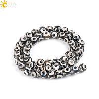 Wholesale tibetan dzi beads jewelry - CSJA 48pcs 8mm Round Tibetan Dzi Beads Natural Agate Gemstone Black White Jewelry Loose Beads for Men Women Necklace Bracelets Earrings P007