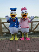 Wholesale Donald Duck Mascot Costumes - 2017 Real Pictures Deluxe Donald Duck and Daisy Duck Mascot costume adult size mascots costumes halloween party supply Ems free shipping