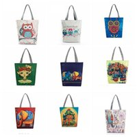 Wholesale Beach Birds - Women Embroidered Floral Handbag Night Owl Printed Shoulder Bags Canvas Birds Lady Shopping Bag Totes Female Casual Travel Beach Bag KKA1101