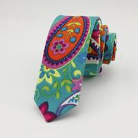 Wholesale Leisure Slim Plaid Suit - 5cm Floral ties Fashion Cotton Paisley Ties For Men Corbatas Slim Suits Vestidos Necktie Party Ties Vintage Printed Gravatas