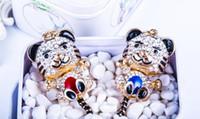 Wholesale Zodiac Key Chains - Chinese zodiac tiger shape key chain Diamond oil drip cartoon tiger metal key ring Creative bag fashion accessories pendant