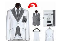 Wholesale White Tail Coat Suit - Wholesale- White Swallow Tailed Coat Peaked Lapel Jacket Men Suit 3Pieces Latest Design High Quality Formal Tuxedos Custume Homme SlimTerno