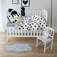 Wholesale Coverlet Kids - Wholesale-Papa&Mima Simple black dots white Crib Set 3 4pcs cotton linens bedding set for babies toddlers kids bedlinens coverlet cushion
