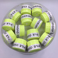 Wholesale Sticky Grip - Wholesale- (60 pcs lot) Neon Green ProFile High quality Tennis Overgrip perforated sticky feel Tennis Rackets Grips Badminton Overgrip