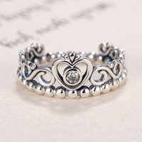 Wholesale Indian Tiaras - Authentic 925 Sterling Silver Ring Princess Tiara Royal Crown With Crystal Rings For Women Compatible With Pandora Jewelry HRA0115