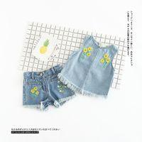 Wholesale Floral Vest Outfits - Girls denim outfits summer new children embroidery tassel vest +shorts 2pcs sets kids floral tops +half pants 2pcs sets kids clothes T2936