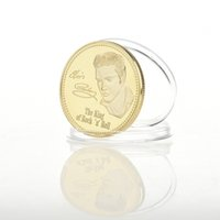 Wholesale Elvis Wholesale - 1PC Elvis Presley Commemorative Coin 1935-1977 The King of N Rock Roll Gold Commemorative Coin Gift BTC012