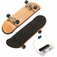 skate da placa de bordo venda por atacado-Maple De Madeira FingerBoard mini placas de dedo Sports Skateboard Preto Rolamentos Rodas Crianças Jogo Do Presente 100mmx28mmx15mm