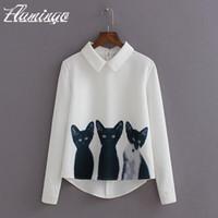 Wholesale Blouse Cats Women - Women Blouse Shirt 3 Cats Printed Elegant Summer Long Sleeve Lapel Tops Lady Casual Chiffon Pullover