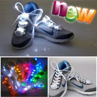 Wholesale Neon Stick Luminous - 9th Updated 10pcs Led Light up Flash Luminous Shoelace Fashion Glowing Stick Strap Shoe laces Flashing Neon led Party Laces