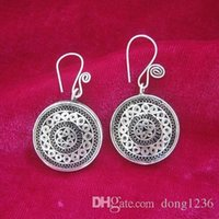 Wholesale japanese palace - Traditional ancient method pinch filament process retro palace earrings handmade Miao silver double-sided copper drum earrings